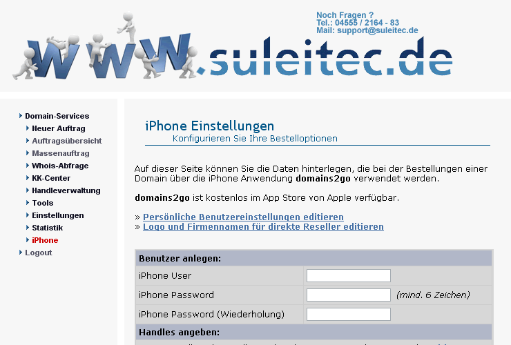 Domains mit dem iPhone Registrieren
