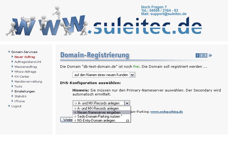 Einen neuen Auftrag im Domain-Bestellsystem aufgeben.