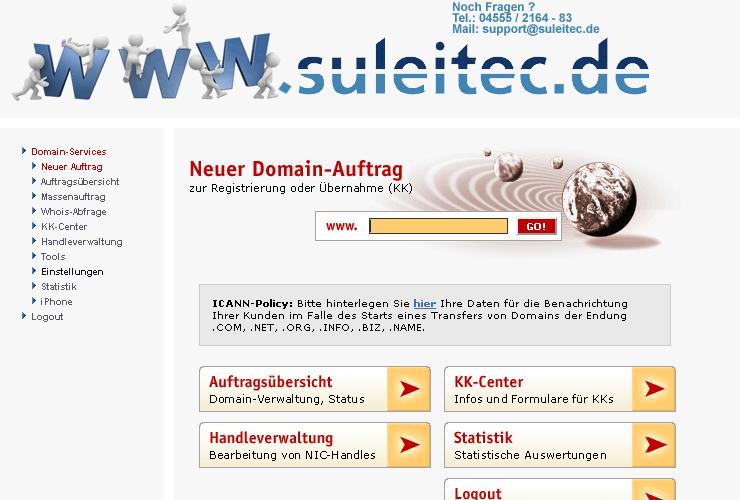 Domain-Bestellsystem Startseite